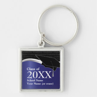 Customizable Blue and Black Graduation Keychain