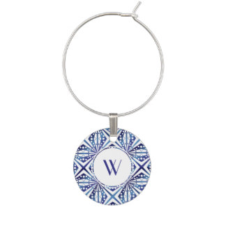 Customizable Blue and White Geometric Pattern Wine Charm