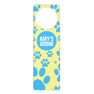 Customizable Blue and Yellow Paw Print Door Hangers
