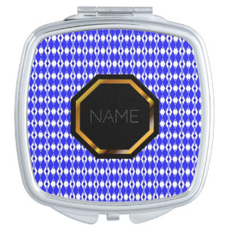 Customizable Blue Argyle Compact Mirror