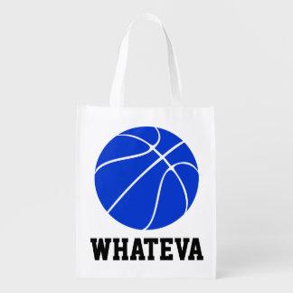 Customizable Blue Basketball Reusable Grocery Bag