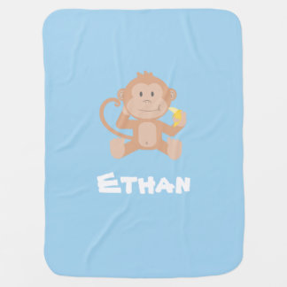 Customizable Blue Boy Baby Blanket with Monkey