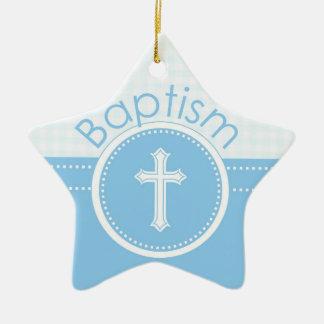 Customizable, Blue Boy Child of God Baptism Ceramic Ornament