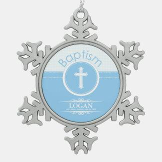 Customizable, Blue Boy Child of God Baptism Snowflake Pewter Christmas Ornament