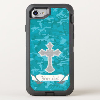 Customizable - Blue Camo with Cross OtterBox Defender iPhone 8/7 Case