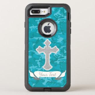 Customizable - Blue Camo with Cross OtterBox Defender iPhone 8 Plus/7 Plus Case