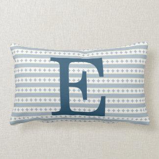 Customizable Blue Initial Monogram Lumbar Cushion