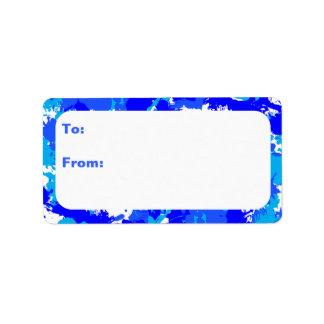 Customizable Blue Paint Splatter Address Label