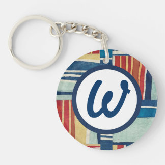 Customizable blue patchwork initial keychain