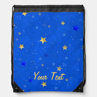 Customizable Blue Sky Golden Stars Drawstring Bags