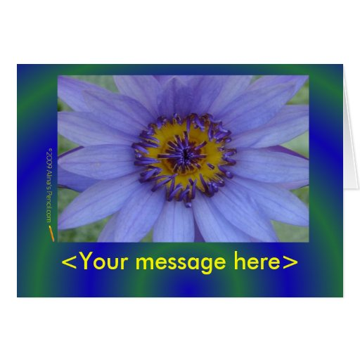 Customizable Blue Water Lily Card