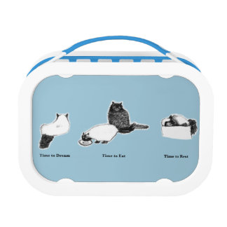 Customizable Blue yubo Lunch Box—with Cat Times Lunch Box