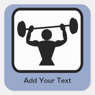 Customizable Bodybuilder Weightlifter Logo Square Stickers