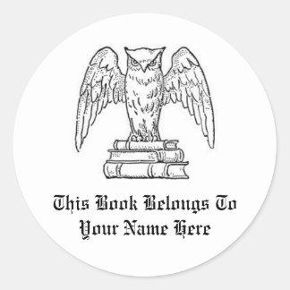 Customizable Book Name Label Round Sticker