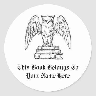 Customizable Book Name Label Round Stickers