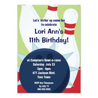 Customizable Bowling Birthday Party 13 Cm X 18 Cm Invitation Card