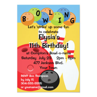 Customizable Bowling Birthday Party 13 Cm X 18 Cm Invitation Card