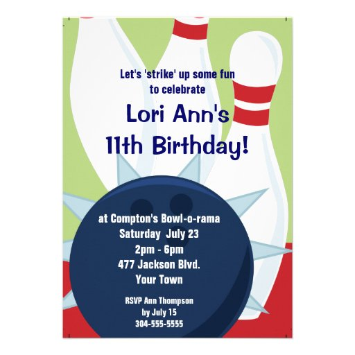 Customizable Bowling Birthday Party Custom Announcement