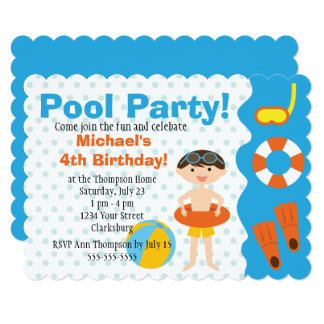 Customizable Boy Pool Party Birthday 13 Cm X 18 Cm Invitation Card