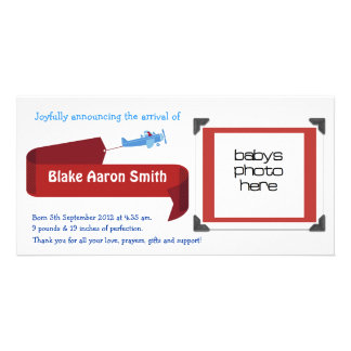 Customizable Boys Birth Announcement Photo Greeting Card