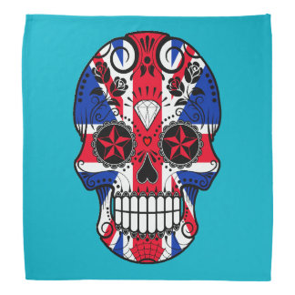 Customizable British Flag Sugar Skull with Roses Bandana