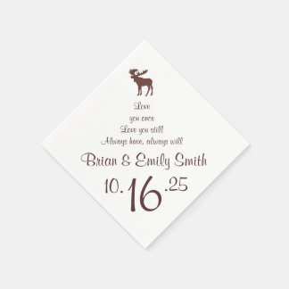 Customizable brown moose paper napkins