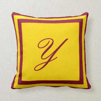 Customizable Burgundy and Gold Monogram Pillow