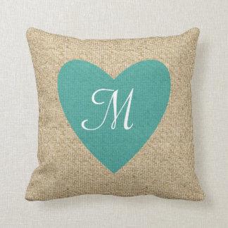 Customizable burlap teal heart monogram pillow