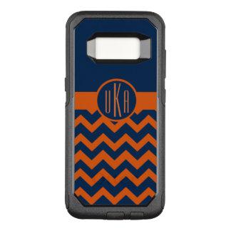 Customizable Burnt Orange and Navy Blue Monogram OtterBox Commuter Samsung Galaxy S8 Case