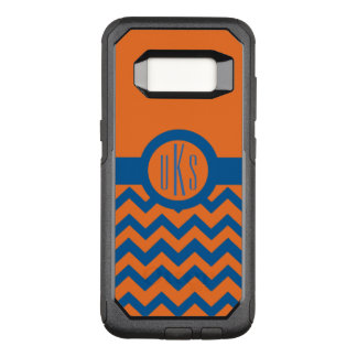 Customizable Burnt Orange and Navy Blue Monogram OtterBox Commuter Samsung Galaxy S8 Case