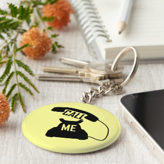 Customizable Call me Black Vintage telephone Basic Round Button Key Ring