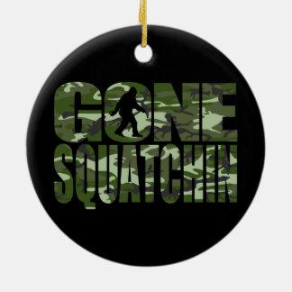 Customizable Camo Gone Squatchin Round Ceramic Decoration