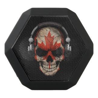 Customizable Canadian Dj Skull with Headphones Black Boombot Rex Bluetooth Speaker