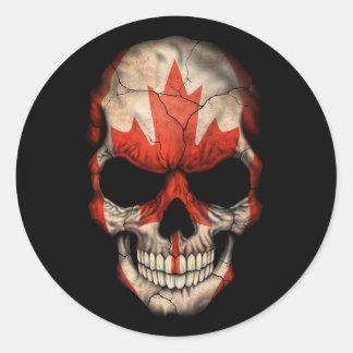 Customizable Canadian Flag Skull Round Sticker