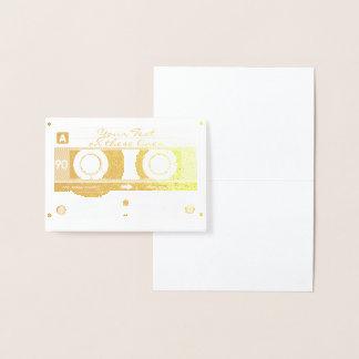 Customizable Cassette Tape Card, Gold Foil Printed Foil Card