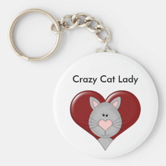 Customizable Cat Valentine - Gray - Add you text Key Ring