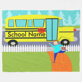 Customizable Catching School Bus Fleece Blanket