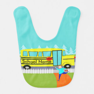 Customizable Catching the School Bus Baby Bib