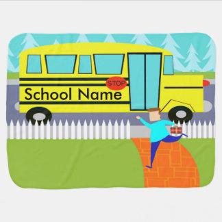 Customizable Catching the School Bus Baby Blanket