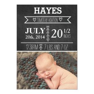"Customizable Chalkboard Birth Announcement 5"" X 7"" Invitation Card"