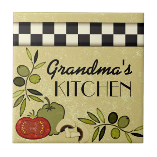 Customizable checkered kitchen wall plaque tile