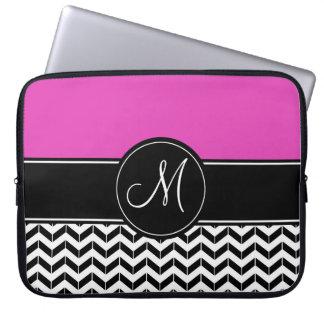 Customizable Chevron Hot Pink Laptop Sleeve