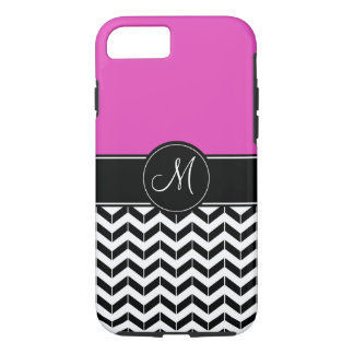Customizable Chevron Hot Pink Tough iPhone Cases