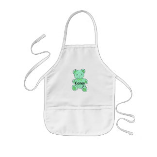 Customizable Child s Apron Green Teddy Bear