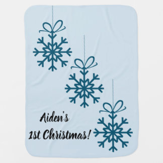 Customizable Christmas baby blanket for him.