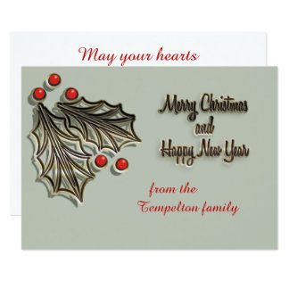 Customizable Christmas card red holly berries
