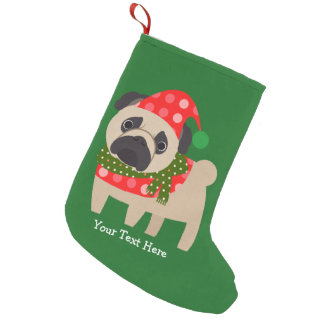 Customizable Christmas Pug Pup Small Christmas Stocking