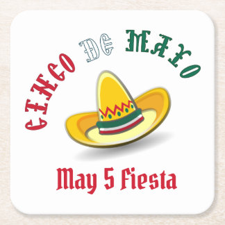 Customizable Cinco de Mayo May 5 Fiesta Square Paper Coaster
