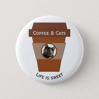 Customizable Coffee & Cats - Life is Sweet 6 Cm Round Badge