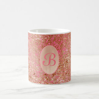 Customizable coffee mug faux Rose Gold hot pink
